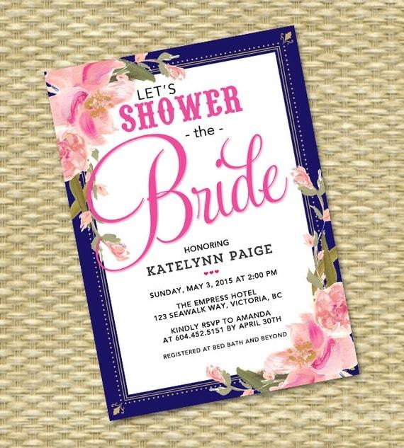 Navy Pink Bridal Shower Invitation Wedding