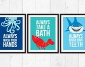 Bathroom wall decor kids, take a bath,  wash your hands, brush your teeth, Kids Decor, bathroom kids Art, octopus shrimp and shark art