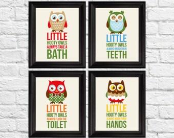 Little hooty owls bathroom rules, bathroom rules kids, kids bathroom decor, owls nursery decor, owls art prints, bathroom rules art prints