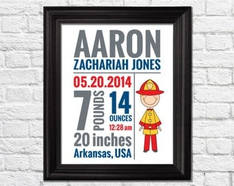 firemen baby art, firefighter decor, Baby Decor, Birth Announcement Art, Personalized Baby Art, Birth stat Print, fire engine art, BF-1019