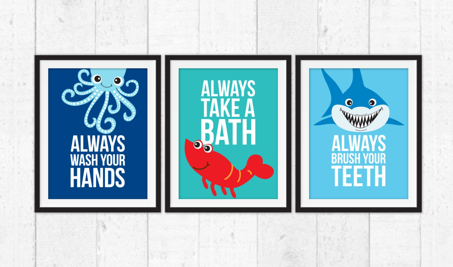 Bathroom Wall Decor Kids Take A Bath Wash Your Hands Brush