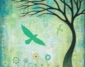 Tree Birds Flowers Art Note Card by Jennifer Barrineau Art Blank Inside Greeting Card Titled First Flight