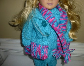 "Hand Knitted 6 piece outfit for American Girl Doll - 18"" Doll"