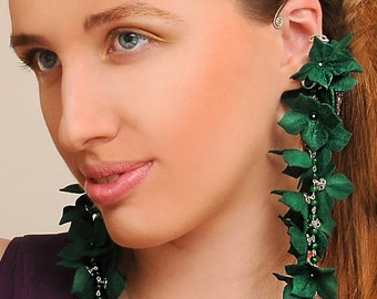 Gorgeous Green Flowers Earrings/one of a kind/light weight extra long earriongs/fashion fairy ear cuff emerald green jade/big huge jewelry