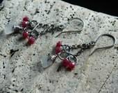 Genuine Sea Glass and Ruby Earrings