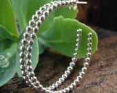 Sterling Silver Beaded Hoop Post Earrings. Everyday Hoop Earrings. 1-1/2 inch diameter. Simple Modern Dot Design. Shiny or Darkened Finish.