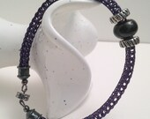 Amethyst silver and black viking knit ladies bracelet magnet clasp