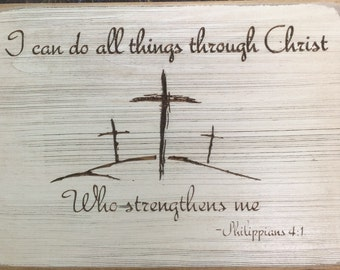 Sign, Christian, FREE SHIPPING, Bible Verse, Christ, Inspirational, Distressed