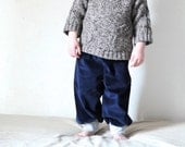 Organic toddler boy pants, dark blue cord pants, corduroy trousers, organic boys clothing, baby winter pants, grow with me pants