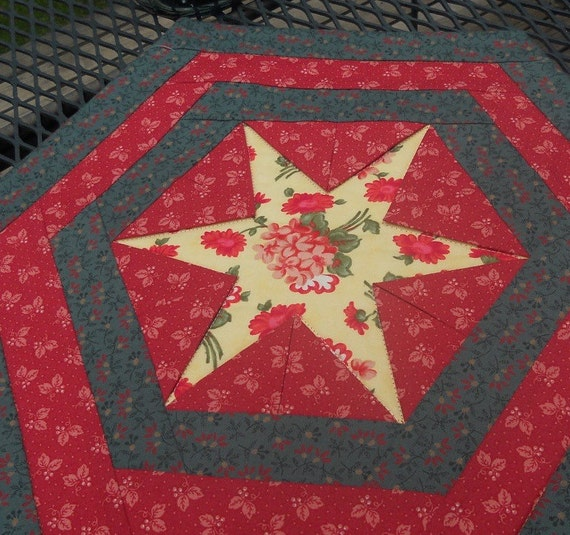 Red Star Table Topper, yellow, red, green, floral, hexagon, handmade, prairie points, 15 inches, topper, table, candle mat, Material Things
