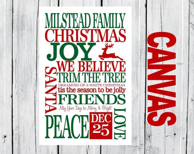 Christmas Family  CANVAS Prints - Christmas Decor 16x24 Special Christmas Pricing