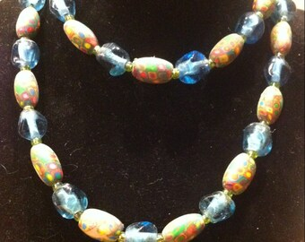 Polymer Clay and Glass Beaded Necklace OOAK