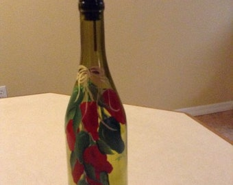 Oil bottle, chili peppers painted