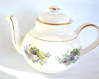 Fine Bone China Teapot with Lid, Purple Blue White Flowers, Gold Gilt, England