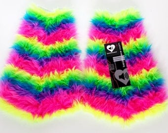 neon rainbow fluffies gogo bootcovers furry legwarmers rave festival fashion leggings rainbow rave fluffies