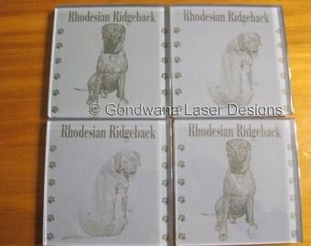 Rhodesian Ridgeback Glass coaster set of 4