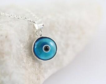 Small Evil Eye Necklace. Sterling Silver Light Blue Evil eye & Sterling silver chain, Dark Blue Evil Eye, Delicate Necklace, Silver Evil Ey