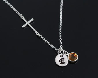 Small Sterling Silver side ways Cross Necklace,Birthstone and Initial Necklace . Sideways Cross initial Birthstone Necklace