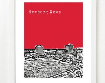 Newport News Poster - Newport News Virginia Skyline Art Print Idaho - Military Gift