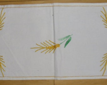 Vintage Small Runner or Dresser Scarf - Embroidered Design in Yellow and Green, Table Runner, Easter Decor, Spring Decor