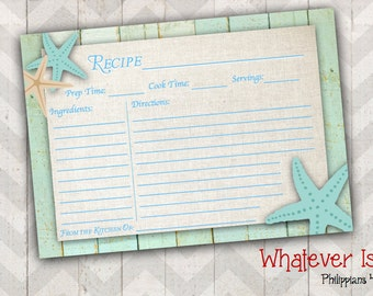 Starfish Recipe Card