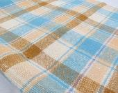 Vintage Woven Plaid Wool Yardage,Blue Tan Plaid Wool,Retro Wool Plaid Yardage,1960s Wool Plaid,Garment,Home Decor,Free Shipping,2PTT15