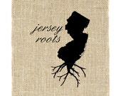 New Jersey Roots Unframed Wall Art, Jersey Print, Burlap Art, Custom Wall Art, Know your roots, Burlap Wall Hanging