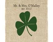 Shamrock Monogram Unframed, Irish Monogram, Gift for couple, Burlap Art, Wedding Monogram, Irish Roots