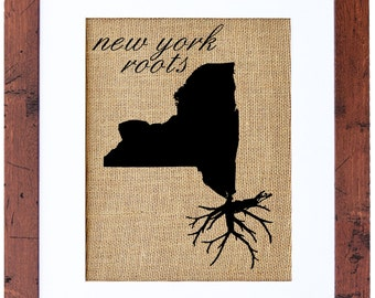 New York Roots Wall Art, Custom Wall Art, Know your roots, Custom State Outline, Burlap Wall Art
