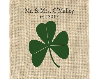 Shamrock Monogram Unframed, Irish Monogram, Gift for couple, Burlap Art, Wedding Monogram, Irish Roots