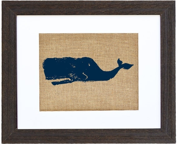 Sperm Whale Burlap Wall Art Moby Dick Wall Art Burlap
