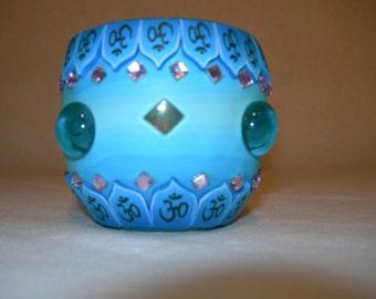 Fimo glass votive candle holder (bejewled Blue)