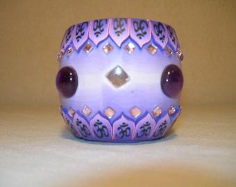 Fimo glass votive candle holder (bejewled Purple)