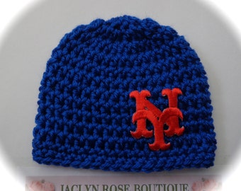 New York NY baby hat beanie newborn 0-3 month navy blue / mauve pink boy / girl great photo prop pom pom can be added baseball