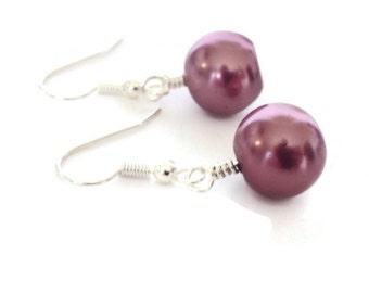 Mauve Earrings, Dusty Rose Earrings, Mauve Pearl Earrings, Pearl Dangle Earrings,Pearl Drop Earrings,Lever Back Earring, Glass Pearl Earring