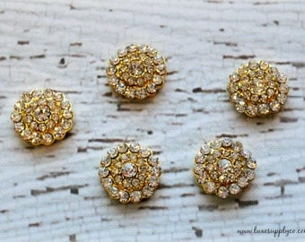 Gold 20mm Rhinestone Embellishments - DIY Wedding Invitations and Decor - Your Choice: Set of 5, 10, or 50 - MR486 GOLD