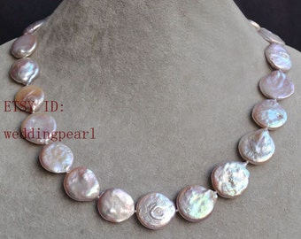lavender coin pearl necklaces, mom necklaces, 16-19mm nice genuine freshwater pearl necklaces, wedding necklace, huge coin pearl necklace