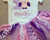 Owl theme purple and pink birthday outfit with tutu/rag skirt and applique shirt