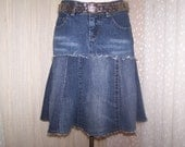 Hag Rags...Upcycled Denim Hippie skirt....Silver 26.....