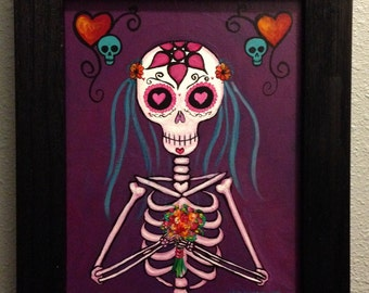 la Novia II...Framed Dia de los Muertos, Day of the Dead skeleton bride painting