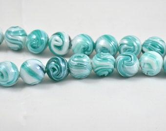Charm Handwork Blue White Stripe Round Lampwork Beads Lampwork Gemstone Beads Round Shape ---- 14mm  ----