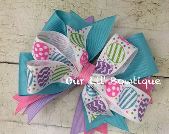 Easter Egg Boutique Bow - Boutique Hairbow - Easter  Bow - Girl - Toddler - Infant