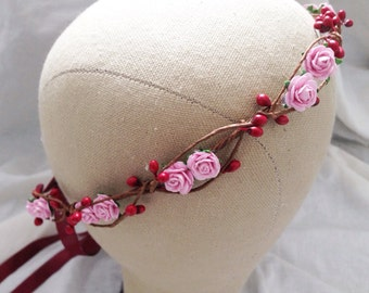 Pink rose and burgundy red  pip berry hair crown wreath garland headband - floral, nature, love, woodland, vintage inspired
