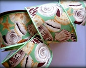 """Shell Island Wide Wired Ribbon, Multi-Aqua, 2 1/2"""" inch wide,  1 yard, For Home Decor, Gift Baskets, Victorian & Romantic Crafts"""