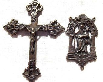 Rosary Set with Saint Joseph and French Victorian Crucifix VP924/372