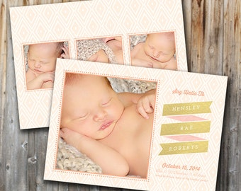 Gold Foil Birth Announcement:  Baby Girl, Gold, Pink, Custom, Double Sided, Personalized
