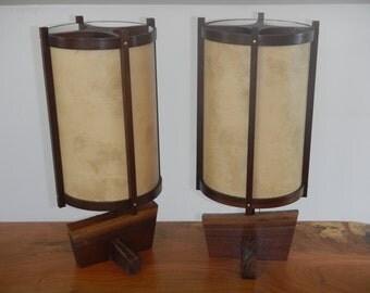 Mid Century Modern Lamps/Danish Modern/Table Lamp/Wood Lamp/Black Walnut Lamp/Modern/George Nakashima Inspired