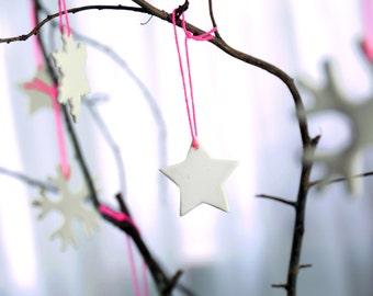 Christmas stars, christmas decoration made of porcelain