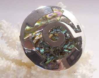Abalone and Sterling Silver Taxco Brooch/Pendant