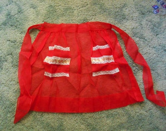 Vintage 1960's Apron-Sheer Red-A17